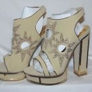 "ALBA ESQUIRE Open Toe Fashion 6"" Thick Heels Beige/Gold Rhinestone Shoe Size 7"