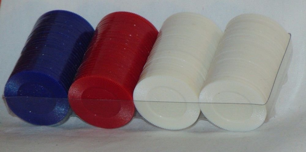 Hoyle 100 Poker Chips Casino Colors Interlocking Easy Stacking Red White Blue