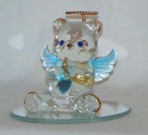 Vintage Glass Crystal Paperweight Animal Figurine Bear Collectible Ornament Gift