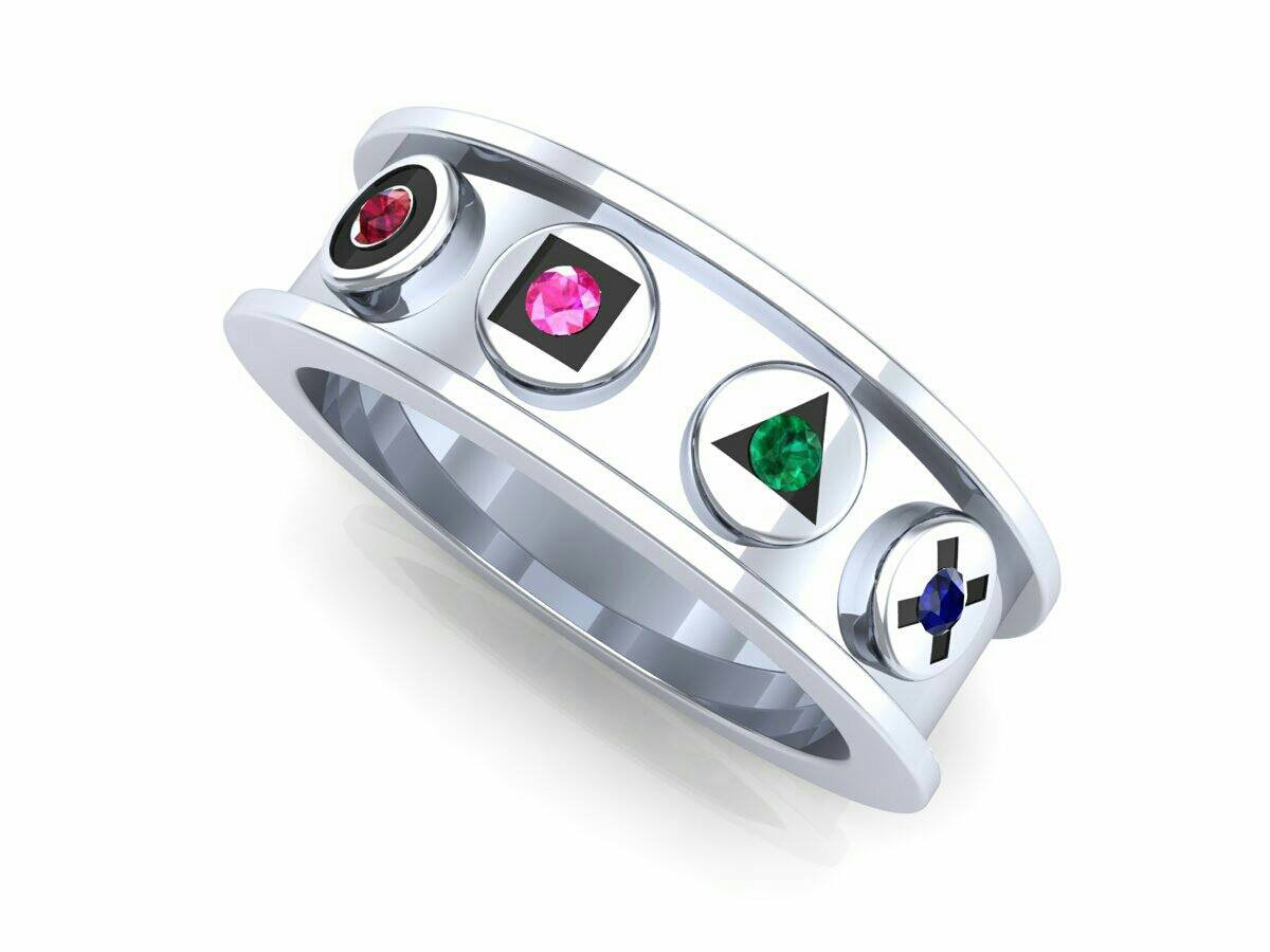 Gamer's Wedding Band in Solid Silver 925