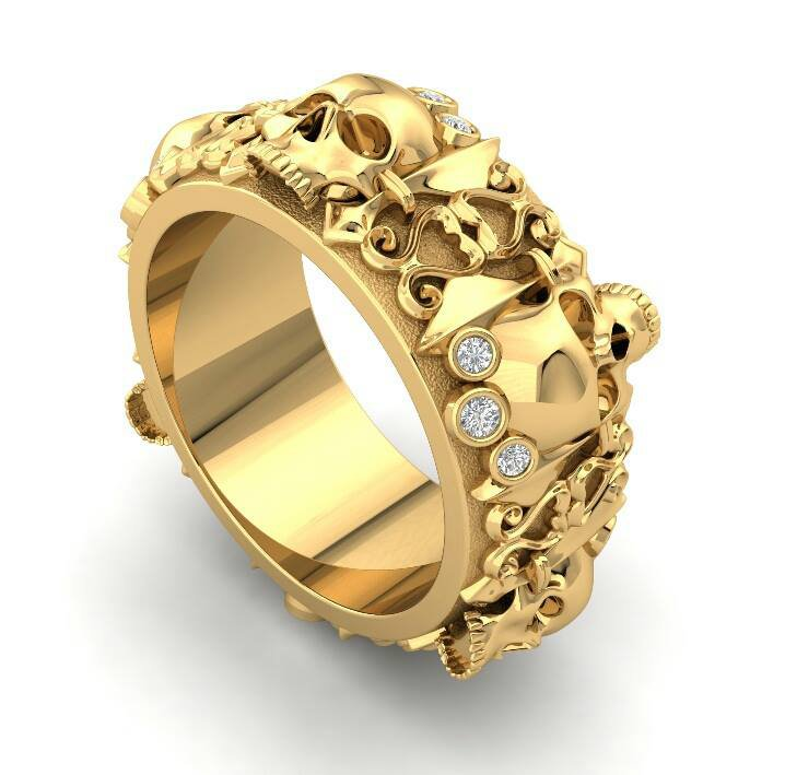 Skull Engagement Ring in Solid 10 k Gold