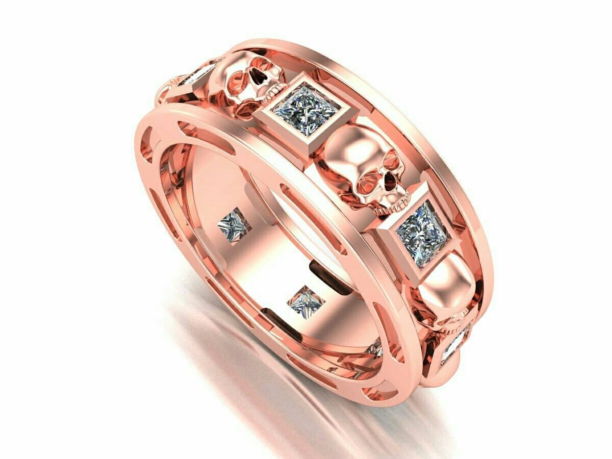 Skull Wedding Band 18 k Rose Pink Gold