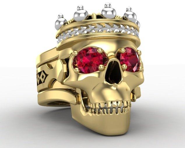 Men's Gold Skull King Ring