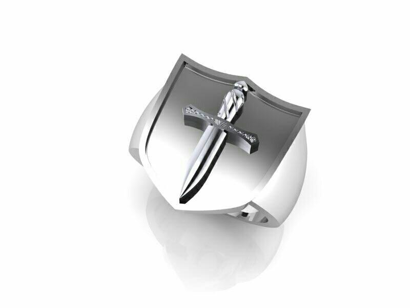 Men's Signet Ring Dagger Style