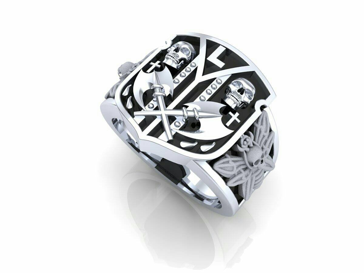Men's Skull Ring Deaths Head Moth Signet Ring (custom choice letter center)