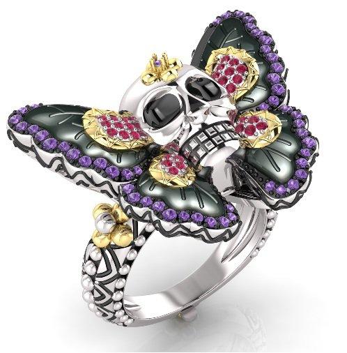 Skull Butterfly Engagement Ring