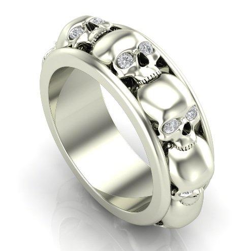 Stacked Skull Ring in 14 k White Gold