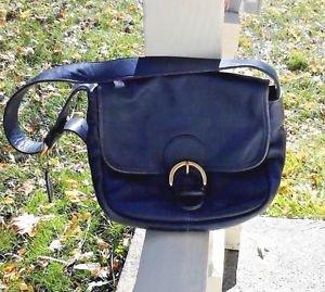 COACH Navy Blue Leather Shoulder Bag Purse Tote Vintage #F7D 4164