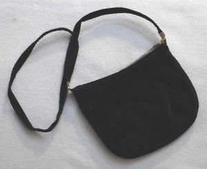 """Black Velvet Evening Bag Small Vintage 7"""" x 9"""" at the top gold tone strap clasps"""