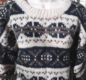 Women's Nepal Sweater 100% Wool Handmade Warm Chunky Cream Pine Green Gray Grey