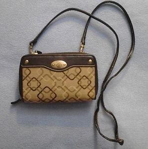 Treviso Wallet Purse Crossbody Bag Brown Tones Jacquard Fabric and Faux Leather