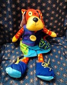 Plush Doggie Manhattan Toy Teach Zip Tie Snap Button Buckle preschool FREE SHIP