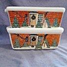 "Christmas Mini Loaf Pans Holiday Bakeware Beige 6""L Baking Set 2 LOT Nantucket"