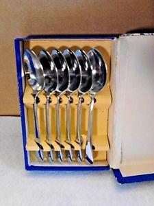 "Friar Demitasse Spoons Set of 6 Vintage Original Box ""A1"" Made in England"