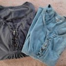 Eddie Bauer Cotton Shirts Girls Peasant BOHO Green Small Black Medium LOT 2