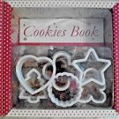 Cookbook & Cookie Cutters Boxed Set *Love Food* Baking 9 pc LOT Gift KidsKitchen