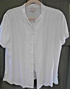 White Blouse Short Sleeve White Nomadic Traders Women's XL Embroidery