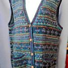 Womens Fair Isle Nordic Sweater Vest Button Down Hand Knit Nepal 100% Wool OS