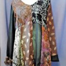 Wild Thing of Chico CA Wild Woman Multi-Color Rayon Artsy BOHO Shirt Blouse M/L