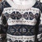 Women's Nordic Sweater Wool Handmade in Nepal Cream Pine Green Grey One Size