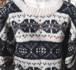 Women's Nordic Sweater Wool Handmade in Nepal Cream Pine Green Grey One Size