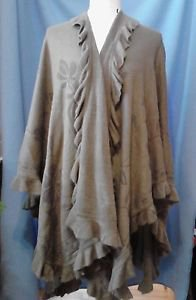 Womens Ruffle Trim Poncho Cape Blanket Shawl Wrap Taupe Brown Floral OS