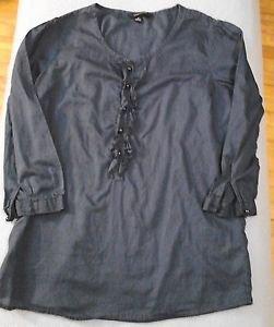 Lands End Blouse Navy Blue Shirt Womens Juniors Jr. Size 2   ¾ Sleeves  Ruffles