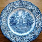 "Independence Hall Liberty Blue Plate 10"" England Staffordshire Discontinued 1981"