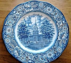"""Independence Hall Liberty Blue Plate 10"""" England Staffordshire Discontinued 1981"""
