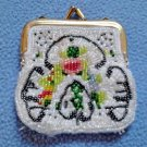 "Vintage Beaded Coin Change Purse Floral Design 3"" x 3"" Extra Small"