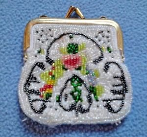 """Vintage Beaded Coin Change Purse Floral Design 3"""" x 3"""" Extra Small"""