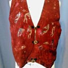 Global Village Vest Women Small Kokopelli Hand Batik BOHO Red Spring free ship