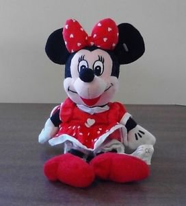 Disney Minnie Mouse Valentine's Day Heart Dress Plush Bean Bag Doll 10 inches