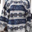 Women's Nordic Sweater Wool Handmade Fair Isle Cream Aqua Blue Grey Nepal