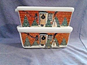 "Christmas Mini Loaf Pans Holiday Bakeware Beige 6""L Baking Set 2 LOT Rustic"