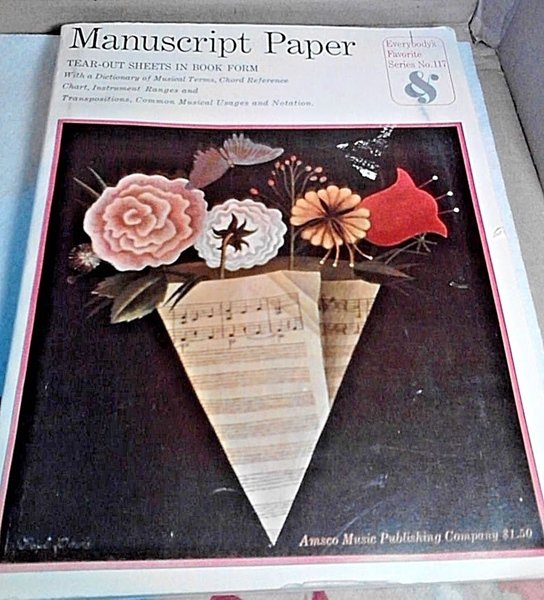 Vintage Manuscript Paper Book Blank Sheet Music Education Amsco 1963 Notebook