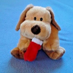 "Ty Pluffies Goodies brown tan puppy dog holding Christmas stocking 9"" plush 2004"