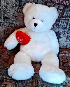 """Fiesta Cuddlesoft Valentine's Day Bear White with Red Heart """"Love You"""" 19 inches"""