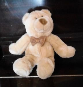 "Commonwealth Soft, Plush Teddy Bear Tan with Bow Tie very cute 12"" Baby Cub"