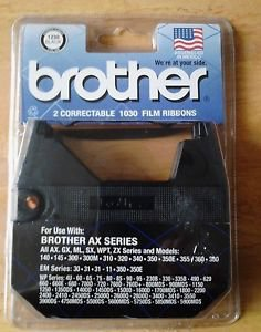 BROTHER 2 CORRECTABLE TYPEWRITER RIBBON #1030 NEW SEALED IN PACKAGE AX EM WP