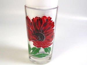 Mid Century modern Drink glass Boscul Poppy Flower Peanut Butter Glass