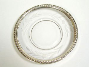 Vtg Sterling Silver Rope Rim Edge Etched Glass Flower Plate Dish Saucer