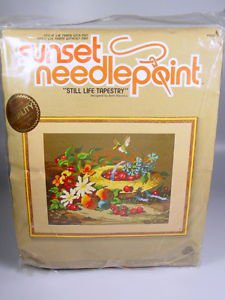 Needlepoint Kit Still Life Tapestry Fruit flower basket hummingbird complete