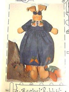 primitive Pattern Bunny Rabbit Cloth carrots Folk Art Rachel Flops Fabric sew