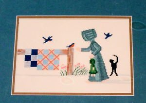 Diane Graebner Cross Stitch Designs Dolly meet Mr. Bird Amish quilt cat 1994