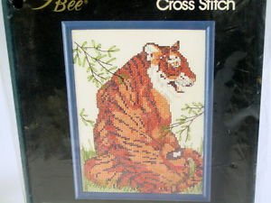 Tiger Counted cross stitch kit with frame Jungle theme 1988