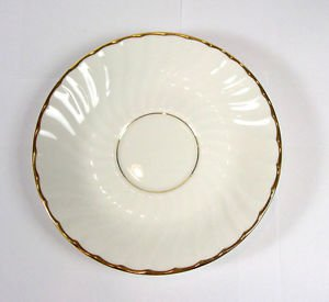 Towle Silversmiths CASCADE saucer replacement Gold Bone China One wavy swirl