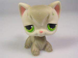Littlest Pet Shop LPS Cat Green Star Eyes 954 Grey Kitty Long Hair