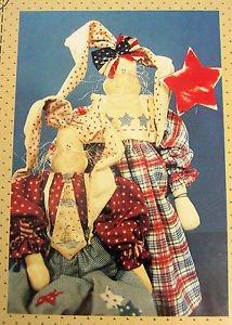 Folk Art Bunny Rabbit sew Pattern Americana Patriotic Cloth Fabric