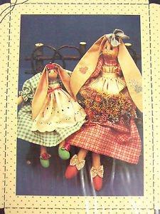 Bunny Rabbit doll Pattern Lop primitive Folk Art Meadow Cloth sew 139 country